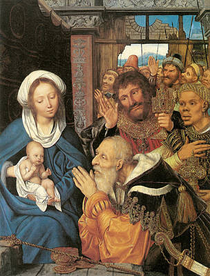Religious Art Painting - The Adoration Of The Magi Massys by Quentin Massys
