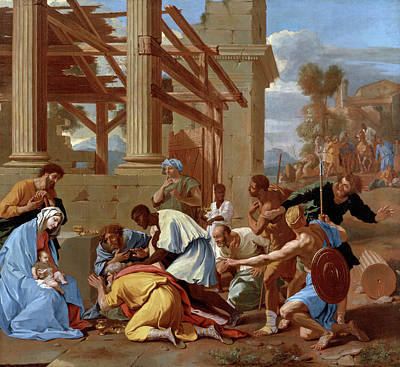 Adoration Painting - The Adoration Of The Magi by Nicolas Poussin