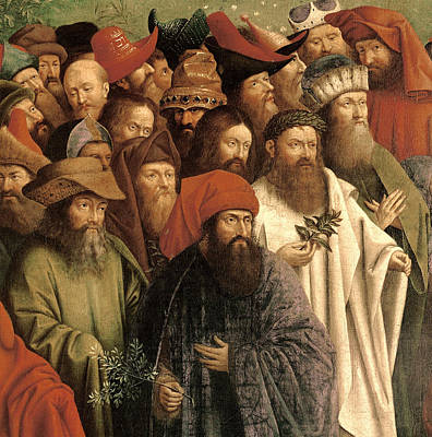 Altar Art Painting - The Adoration Of The Mystic Lamb by Van Eyck