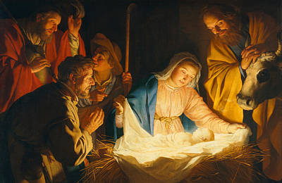 The Adoration Of The Shepherds Print by Gerrit van Honthorst