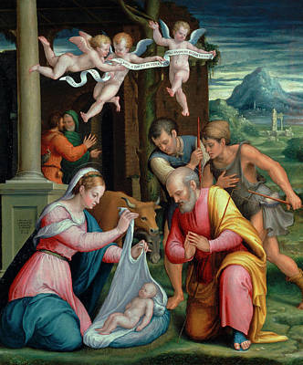 Longhi Painting - The Adoration Of The Shepherds by Luca Longhi