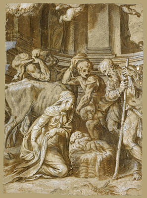 Drawing - The Adoration Of The Shepherds by Paolo Farinati