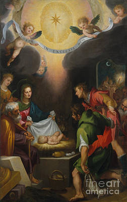 The Adoration Of The Shepherds With Saint Catherine Of Alexandria Art Print