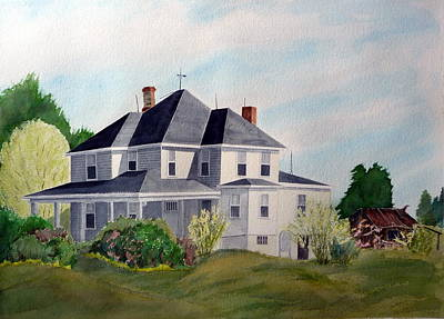 Art Print featuring the painting The Adrian Shuford House - Spring 2000 by Joel Deutsch