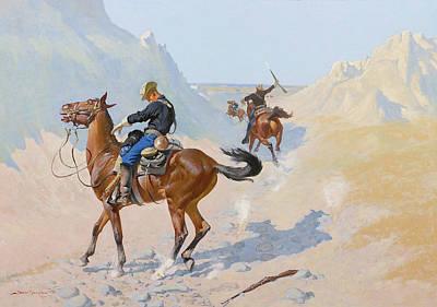 The Advance Guard Or The Military Sacrifice  The Ambush Art Print by Frederic Remington