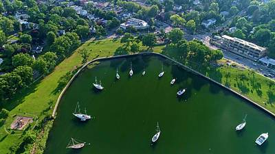 Photograph - The aerial view of the Marina of Mamaroneck by Alex Potemkin