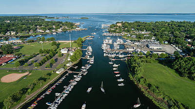 Photograph - The Aerial View To The Mamaroneck Marina, Westchester County by Alex Potemkin