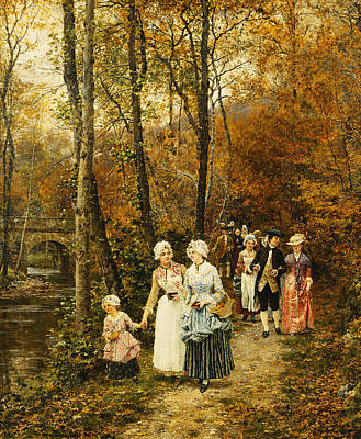 Little People Painting - The Afternoon Stroll by Marie Francois Firmin Girard