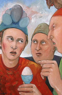 Humourous Painting - The Age Old Debate by Paula Wittner