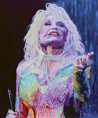 Painting - The Air Is Filled With Gold Dust - Dolly Parton by Maria Modopoulos