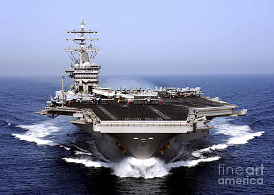 Front View Photograph - The Aircraft Carrier Uss Dwight D by Stocktrek Images
