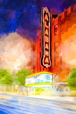 Art Print featuring the mixed media The Alabama Theatre By Night by Mark E Tisdale
