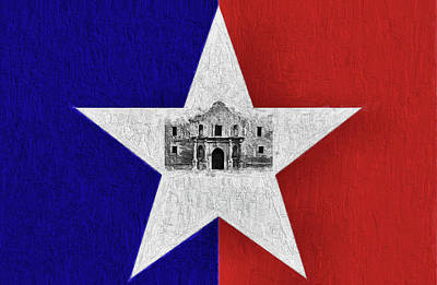 Digital Art - The Alamo And San Antonio City Flag by JC Findley
