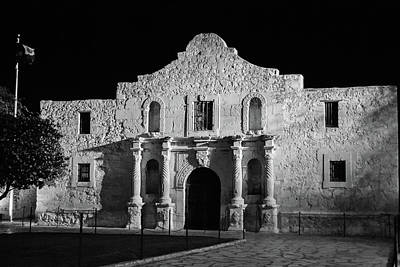 Photograph - The Alamo At Night - San Antonio Texas Bw by Gregory Ballos