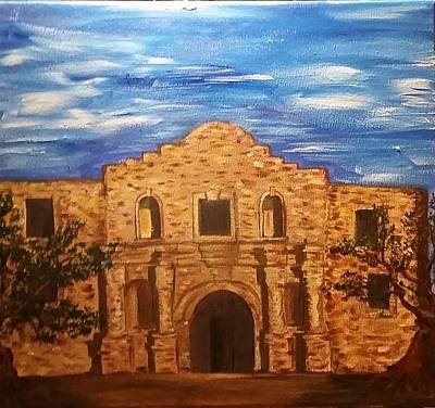 World Heritage Site Drawing - The Alamo by Estella Mendez