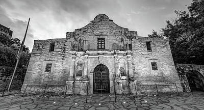 Photograph - The Alamo In Black And White - San Antonio Texas by Gregory Ballos