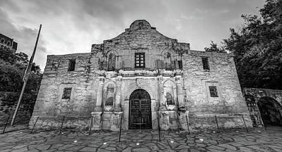Photograph - The Alamo In Black And White - San Antonio Texas by Gregory Ballos