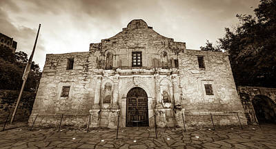 Photograph - The Alamo In Sepia - San Antonio Texas by Gregory Ballos