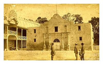 Photograph - The Alamo San Antonio Texas Circa 1880 Albumen Photograph by Peter Gumaer Ogden