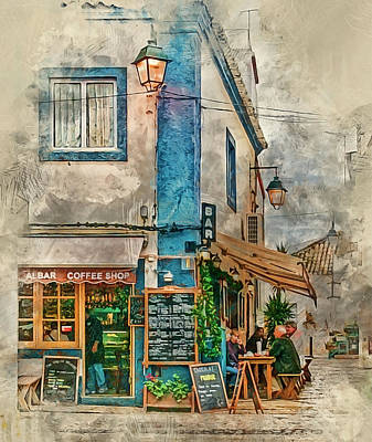 Photograph - The Albar Coffee Shop In Alvor. by Brian Tarr