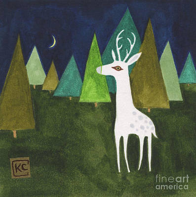 Forrest Drawing - The Albino Deer by Kate Cosgrove
