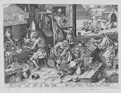 Drawing - The Alchemist by After Pieter Bruegel the Elder