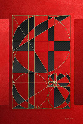 The Alchemy - Divine Proportions - Black On Red Art Print by Serge Averbukh