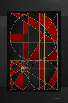 The Alchemy - Divine Proportions - Red On Black Art Print by Serge Averbukh
