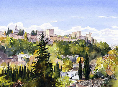 Painting - The Alhambra From Sacromonte by Margaret Merry