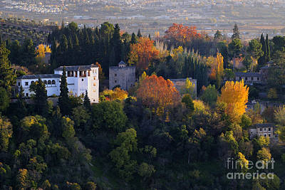 The Alhambra Palace And Generalife At Autum Art Print by Guido Montanes Castillo