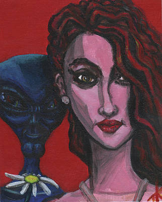 Painting - The Alien Brings A Flower Each Day by Similar Alien