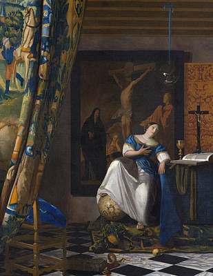 Jan Vermeer Painting - The Allegory Of The Faith by Jan Vermeer
