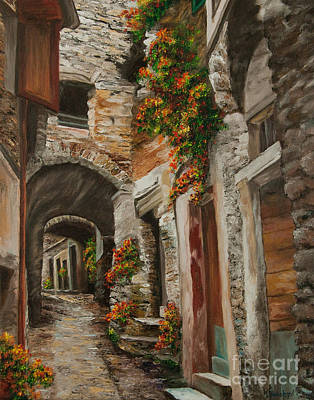 Stone Buildings Painting - The Alleyway by Charlotte Blanchard