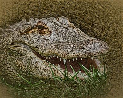 Digital Art - The Alligator by Ernie Echols