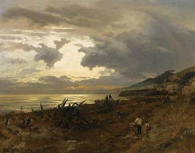 German Art Painting - The Amalfi Coast by Oswald Achenbach