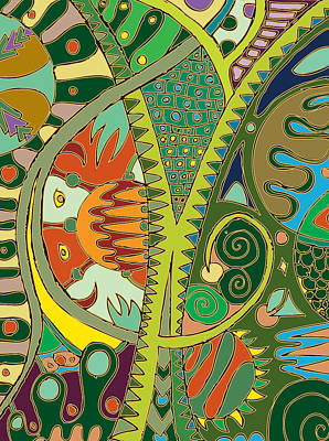 Nature Abstract Drawing - The Amazon by Marta Podkul