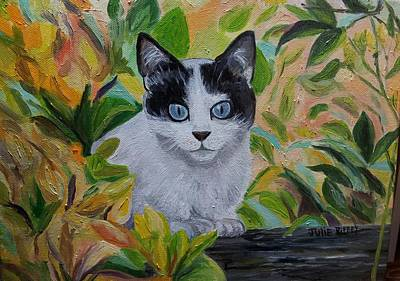 Lying In Wait Painting - The Ambush - Cat In The Bushes by Julie Brugh Riffey