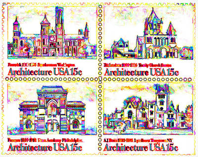 Stanford University Painting - The American Architecture Stamps by Lanjee Chee
