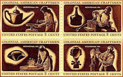Bicentennial Painting - The American Colonial Craftsmen Stamps by Lanjee Chee