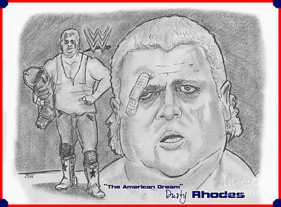 Drawing - The American Dream Dusty Rhodes by Chris  DelVecchio