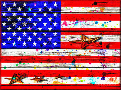 Old Glory Mixed Media - The American Flag Grunge by Daniel Janda