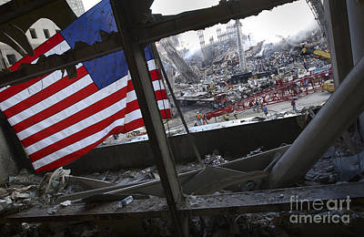 The American Flag Is Prominent Amongst Art Print by Stocktrek Images