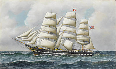 Sea Painting - The American Full Rigger by Antonio Jacobsen