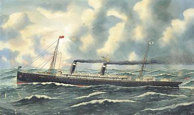Liner Painting - The American Liner St Louis Outward Bound by MotionAge Designs