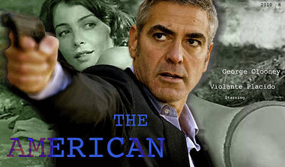The American, Movie Poster Creation, George Clooney And Viloante Placido Art Print by Thomas Pollart