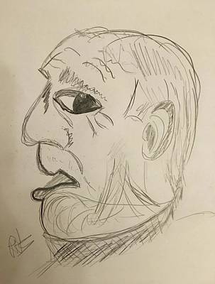 Drawing - The American by Roger Cummiskey