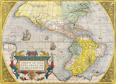 Antique Map Painting - The Americas by Celestial Images