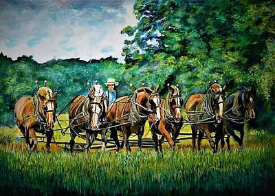 Painting - The Amish Team by Mike Benton