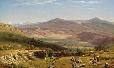 Worthington Painting - The Amphitheatre Of Tusculum And Albano Mountains Rome by Worthington Whittredge