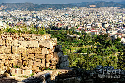 Photograph - The Ancient Agora And Sprawling Modern Athens From The Acropolis  by Global Light Photography - Nicole Leffer